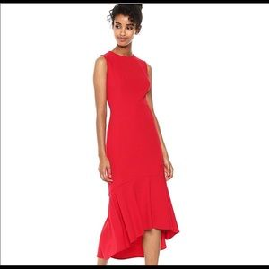 Calvin Klein High-Low Midi Scuba Dress in Size 8